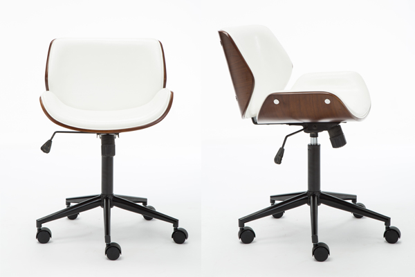 OK-BS007W walnut colour wood frame office chair bar stool WHITE leather covering