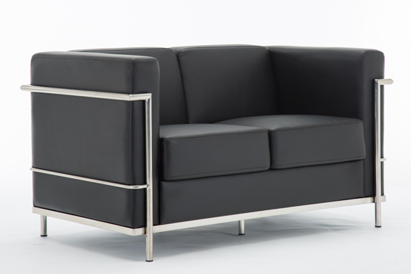 OK-OS001 2SEAT black leather hercules regal style sofa