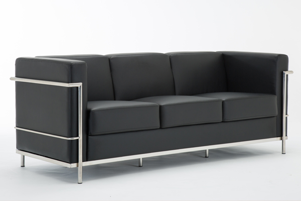 ok-os001 black leather hercules style visiting office sofa 3seats