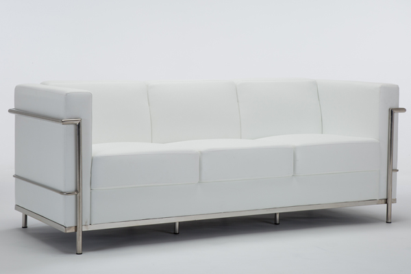OK-OS001 white leather hercules Regal series stainless steel encasing frame sofa