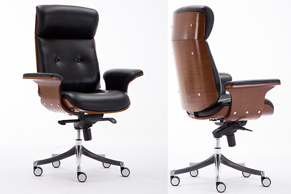 OK-BS027 Exquisite Century High Back Office Chair in Black Faux Leather and Walnut Wood, Chrome Finish