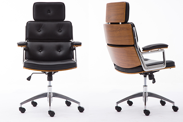 OK-BS026 Retro&Unique Mid-Century Modern Walnut Adjustable seat and caster wheels Office Chair