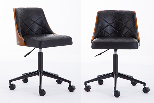 OK-BS020 Excellent Adjustable Mid-Century Walnut Wood Swivel Office Task Chair