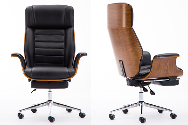 BS-025 Contemporary Black Leather High Back Walnut Wood Executive Swivel Ergonomic Office Chair