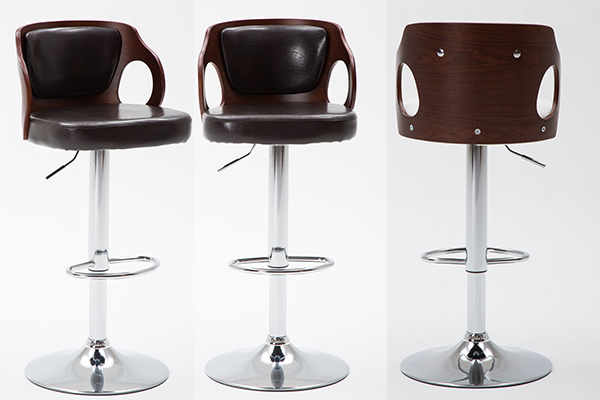 OK-BS004 Walnut Bentwood Adjustable Height Leather Modern Barstool with Back Vinyl Seat Extremely Comfy Bar Stools