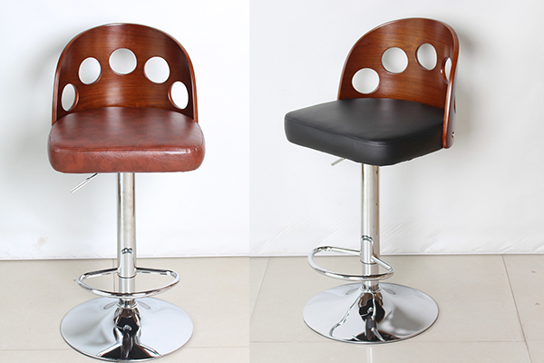 OK-BS041 Modern Walnut and Black Modern  Faux Leather  Plywood Bar Stool
